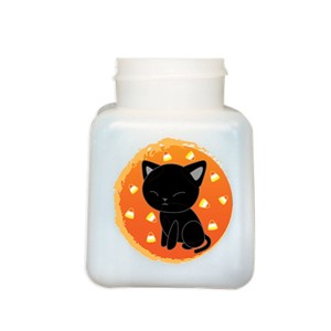 34423-BOTTLE ONLY, NATURAL HDPE, 4 OZ, W/CAT DESIGN, 2 SIDES CAT DESIGN