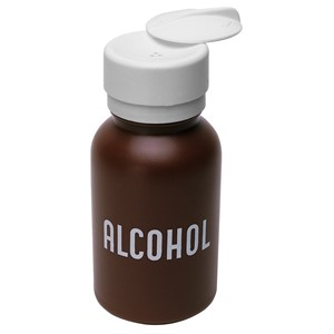 35601-LASTING-TOUCH, BROWN ROUND HDPE, 8 OZ IMPRINTED 'ALCOHOL'