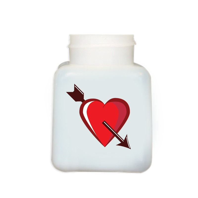 34426-BOTTLE ONLY, NATURAL HDPE, 4 OZ, W/CUPID HEART DESIGN