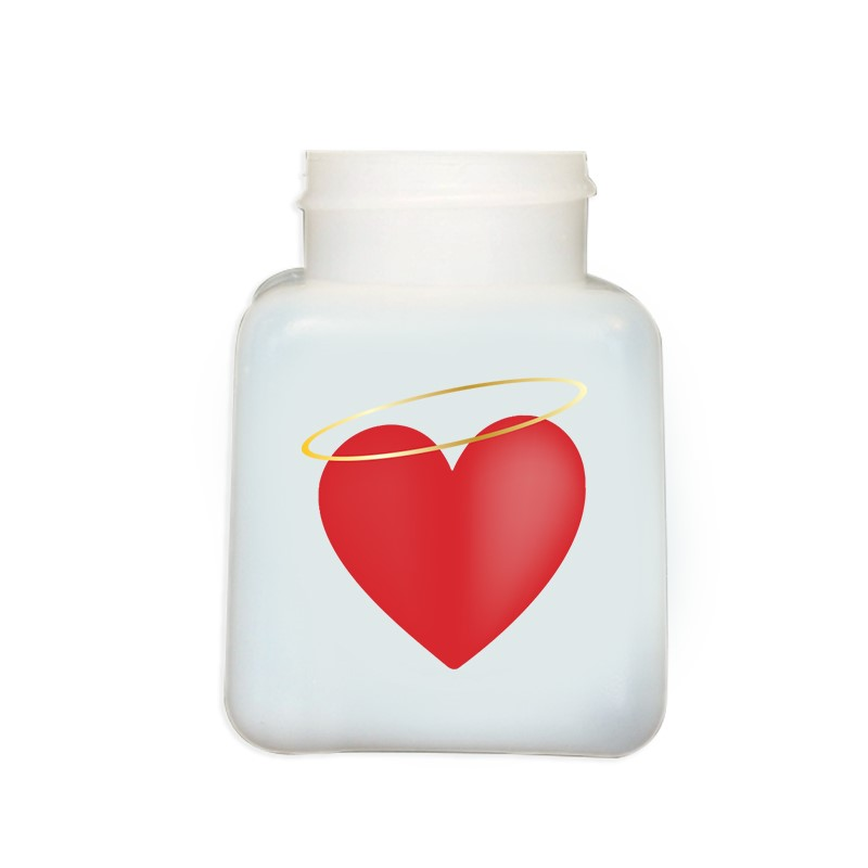 34427-BOTTLE ONLY, NATURAL HDPE, 4 OZ, W/HALO HEART DESIGN